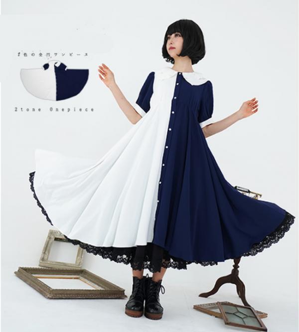 Vintage Color Split Long Dress