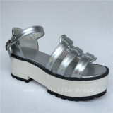 Beautiful Silver Lolita Shoes with White High Platform