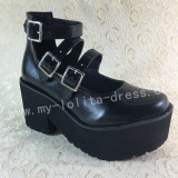 Sweet Gothic Matte Black Lolita Heels Shoes with High Platform