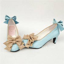 Chariming Blue Matte Lolita Heels Shoes with Bows