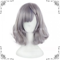 Sweet Light Grey Silver Blue Bobo Lolita Short Wig