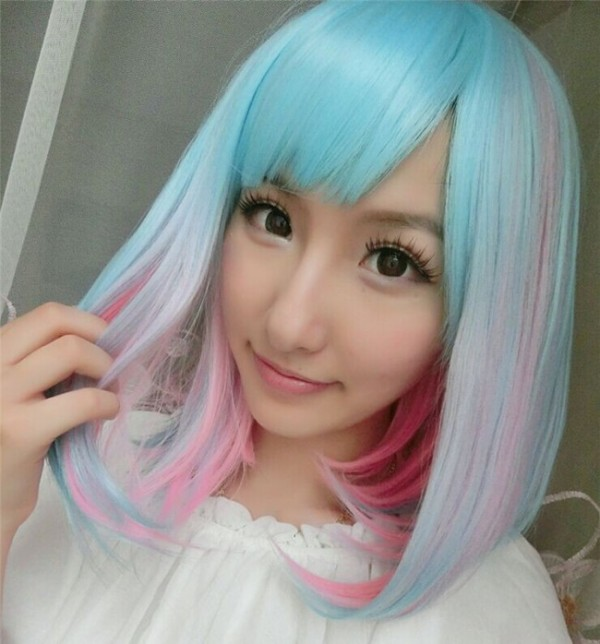 Sweet Sky Blue Pink Short Lolita Wig