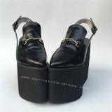 High Platform Black Matte Lolita Shoes