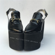 High Platform Black Matte Lolita Shoes