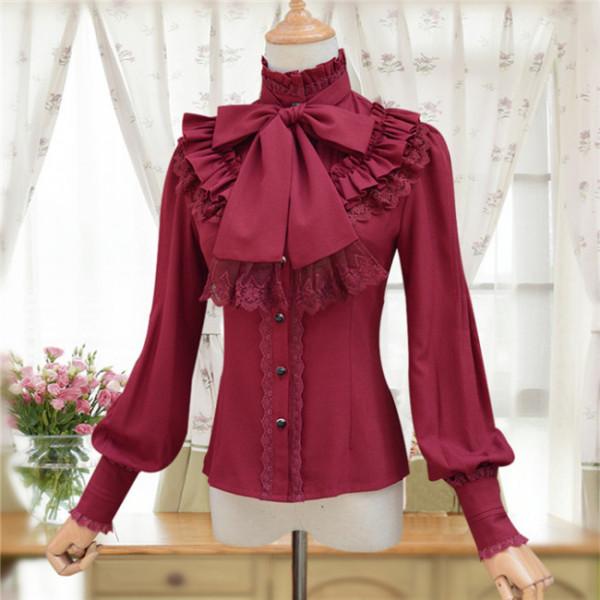 Sweet Chiffon Long Sleeves High Collar Lolita Blouse