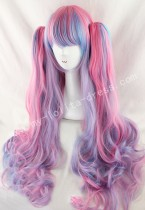 Cute Pink Blue Purple Curls Lolita Wig