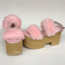 Sweet Imitate Bunny Furs Lolita Pink High Platform Sandals