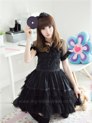 Black Classic Cotton Lolita Dress - Black Size M  In Stock