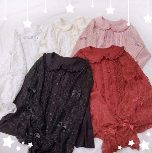 Little Dipper Sleeping Stars Sweet Double-layer Sleeves Lolita Blouse - In Stock