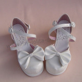 Removable Bow White Lolita Summer Shoes