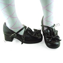 Coffee Crossed Straps Bows Lolita Footwear