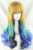 Gold Green Blue Navy Blue 4 Colors 70cm Lolita Curly Wig