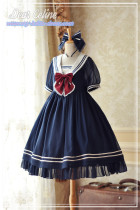 Dear Celine Summer Breeze~ Sailor Collar Striped Lolita OP -Ready Made