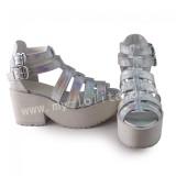 Lady's Summer Silver Lolita Heels Sandals