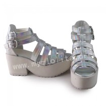 Lady's Summer Silver Lolita Heels Sandals