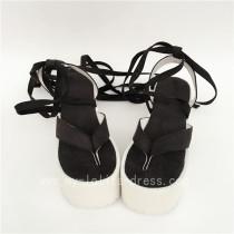 Black Velvet Split Toes Lolita Sandals