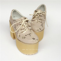 Real Cowhide Champagne Lolita High Platform Shoes