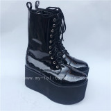 Sweet Glossy Black Lolita High Platform Boots