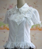 (Replica)White Bows Lace Ruffles Cotton Shirt White XL -Free Shipping