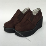 High Platform Coffee Velvet Lolita Shoes