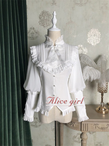 Alice Girl ~Berlin Girl~ Gigot Sleeves Lolita Blouse -Pre-order White Size L - In Stock