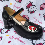 Sweet Black Lolita Heels Shoes with Owl Head Designed