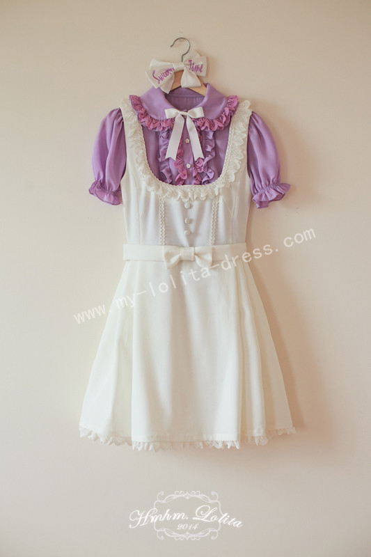 Girl's White Sweet Lolita Jumper Dress with Bows