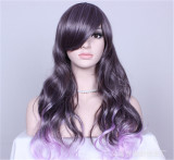 Girl's Sweet Black to Purple Gradient Cosplay Long Curls Wig