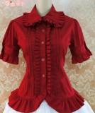 Cotton Short Sleeves Ruffles Bows Lolita Shirt 7 Colors