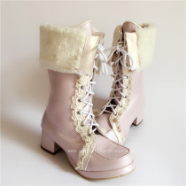 Sweet Pearl Pink Lolita Winter Mid-calf Boots with Beige Lace