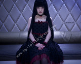 Gothic Mesh Lace Trim Dots Lolita JSK with Bows