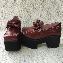 Beautiful Matte Wine Lolita Square Heels High Platform
