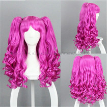 Sweet Rose Red Cosplay Long Curls Wig with Two Ponytails