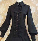 Bat Collar Leg-of-mutton Sleeves Gothic Vingtage Lolita Blouse
