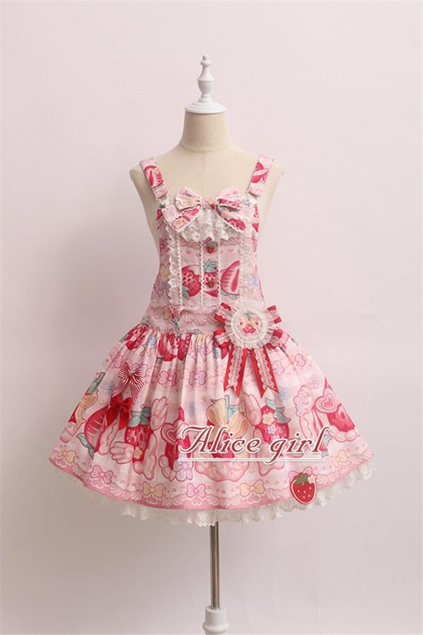 Alice Girl ~Strawberry With Cream~ Sweet Lolita Salopette + Badage -Pre-order
