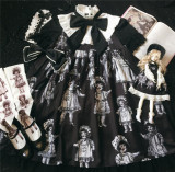Antique Paper Doll~ Black Lolita OP Short Sleeves -Ready Made