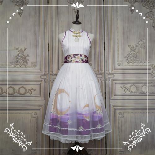 NyaNya Lolita Boutique ~Over the Sea the Moon Shines Bright Cheongsam Qi Lolita OP -Ready Made