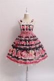 Alice Girl ~Strawberry With Cream~ Sweet Lolita Jumper  + Badage -Pre-order Pink Size M + Headbow - IN Stock