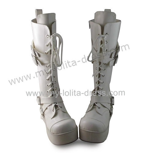 Matte Unicolor White Lace Up Belts Lolita Boots