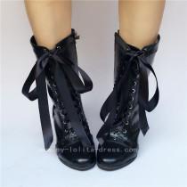 Black Matte Lace Up Lolita Heels Shoes