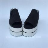 Black Velvet Open Toes Double Colors Soles Lolita Shoes