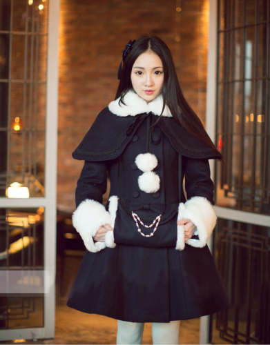 Princess Faith Elegant Lolita Long Coat with Detachable Cape