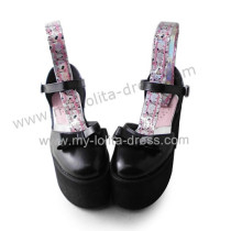 Matte Black Elegant Bow Lolita Girls Shoes