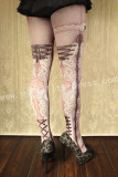 Black/Pink Lolita Tights with Lace Up Design -Clearance