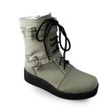 Light Green Denim Short Boots