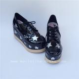 High Platform Glossy Black Lolita Shoes with Silver Stars Design