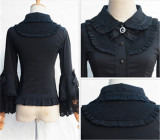 Vintage Mercerized Cotton Hime Sleeves Lolita Blouse Black M Chiffon In Stock