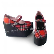 Sweet Red Gingham Lolita High Platform