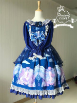PreciousClove~ Little Fox Story~ Long Sleeves Lolita OP +Headbow Light Blue XL In Stock