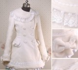 Lolita Princess Double Breasted Lace Bow Cashmere Winter Jacket
